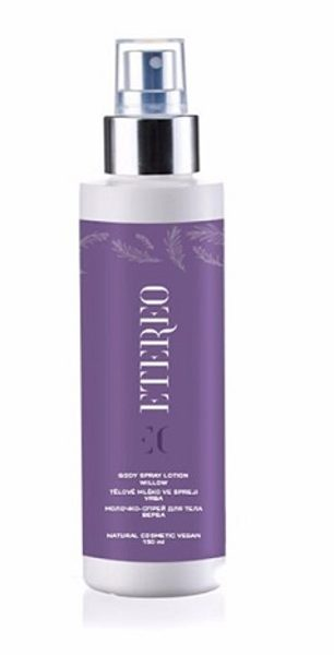 AKCIJA! ETEREO BODY SPRAY LOTION WILLOW NATURAL COSMETIC VEGAN Intensīvi mitrinošs ķermeņa pieniņš, 150ml